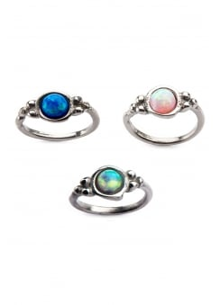 Bezel Set Synthetic Opal Split Ring