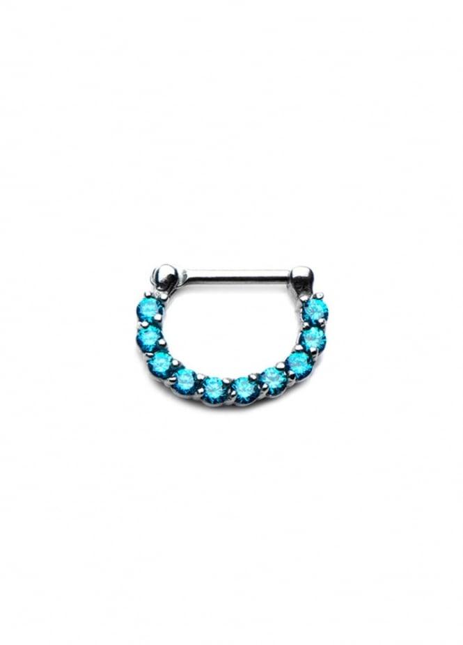 Body Vibe Blue Crystal Septum Clicker