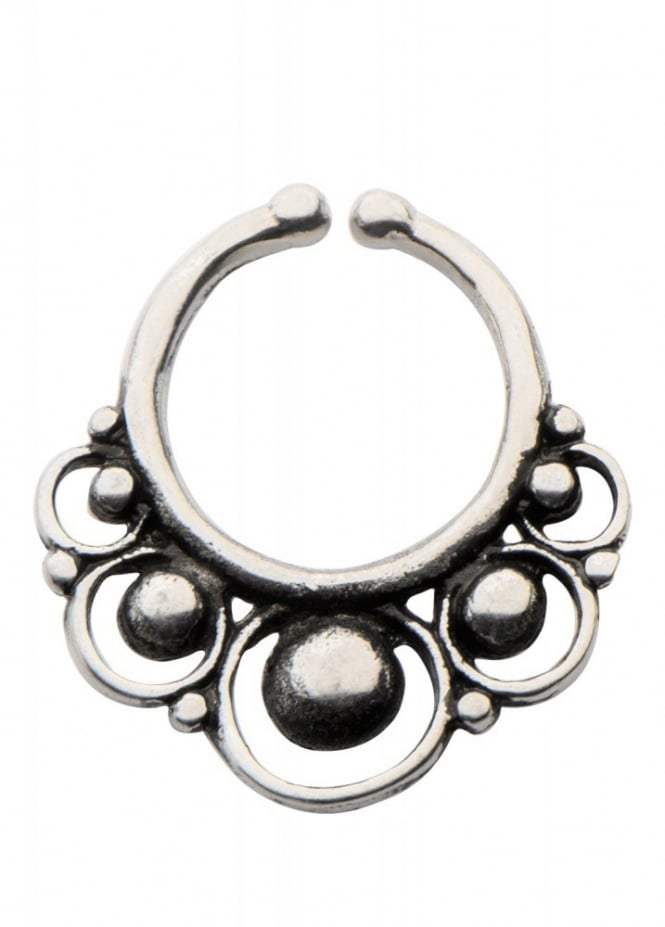 Body Vibe Circles White Brass Faux Septum Ring