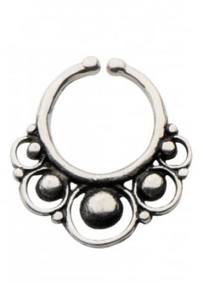 Circles White Brass Faux Septum Ring