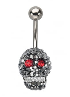 Crystal Skull In & Out Navel Bar
