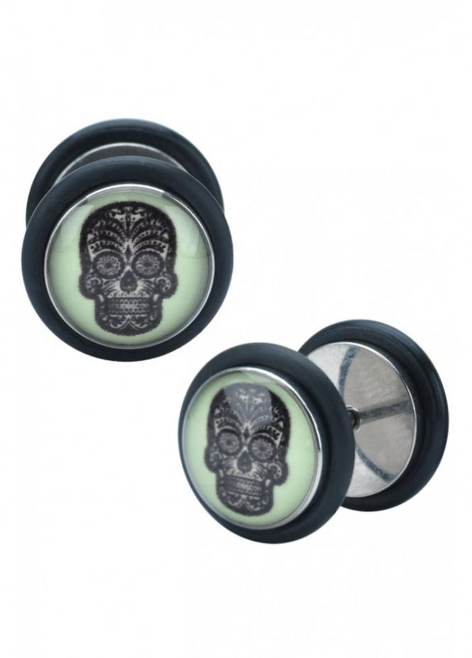 Body Vibe Glow In The Dark Skull Fake Plugs