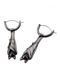 Hanging Bat Hemetite Plug Hoop