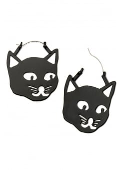 Kitty Cat Head Plug Hoops
