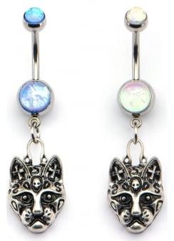 Opal Cat Face Dangle Charm Navel Bar