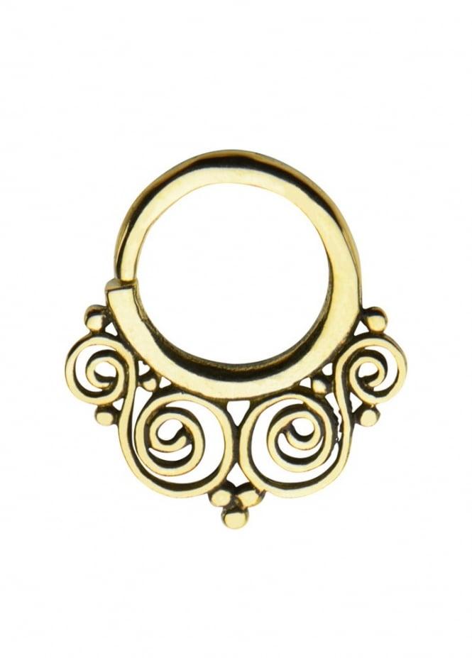 Body Vibe Ornate Brass Septum Ring 10mm