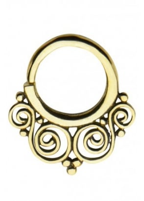 Ornate Brass Septum Ring 10mm