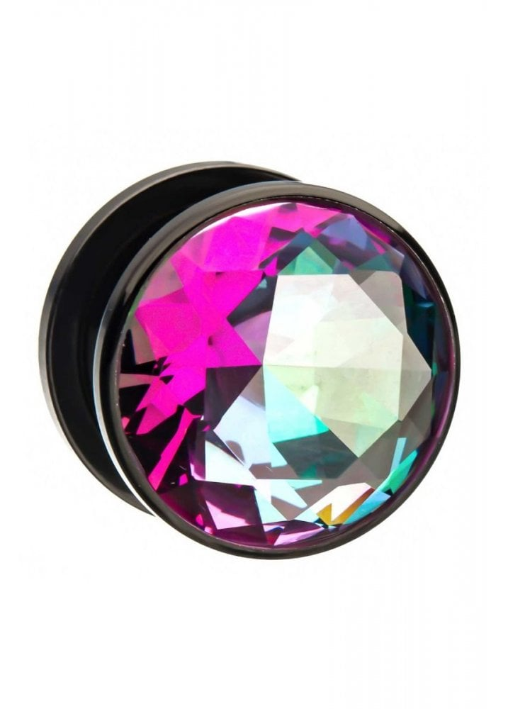 Purple and Green CZ Black Plated Plugs