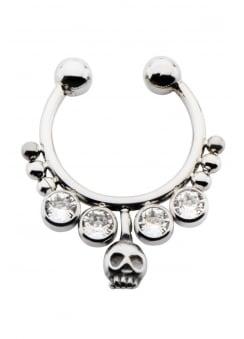 Skull & Gem Faux Septum Ring