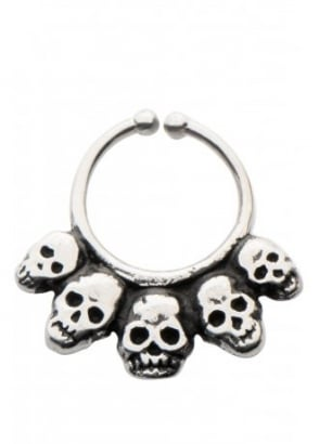 Skull White Brass Faux Septum Ring