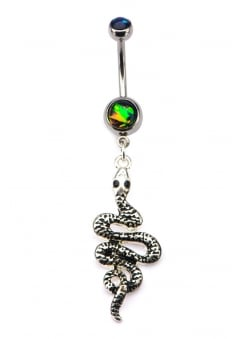 Snake Dangle Charm Navel Bar