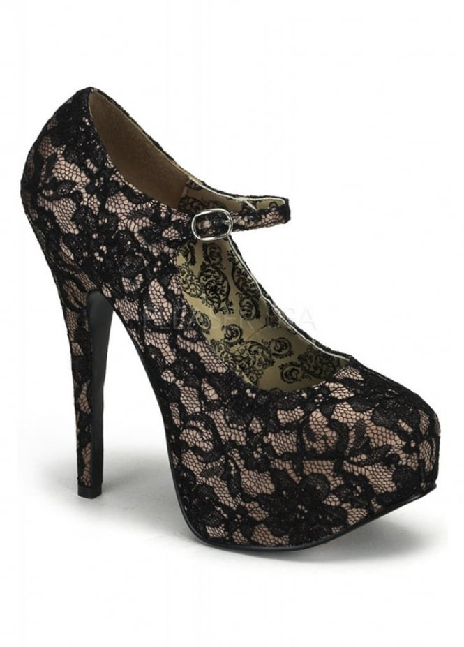 Bordello Shoes Teeze-07L Lace Mary Jane Shoe