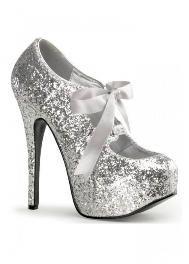 Bordello Shoes Teeze-10G Glitter Bow Shoe