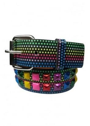 2 Row Multicoloured Star Stud Belt