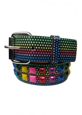 2 Row Multicoloured Star Stud Belt