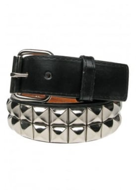2 Row Silver Pyramid Stud Belt