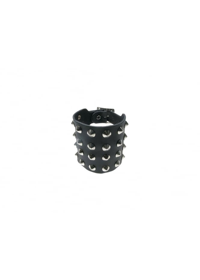 Bullet 69 4 Row Conical Studded Leather Wristband