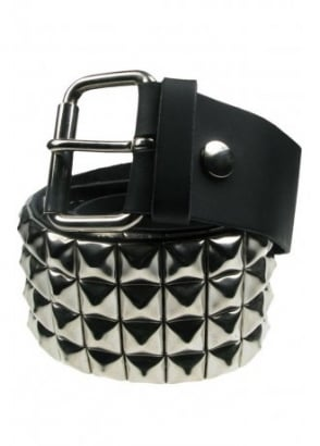 4 Row Pyramid Stud Leather Belt