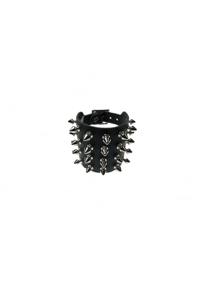 Bullet 69 4 Row Spike Studded Leather Wristband