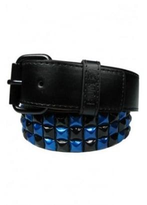 Metallic Blue & Black Pyramid Stud Belt