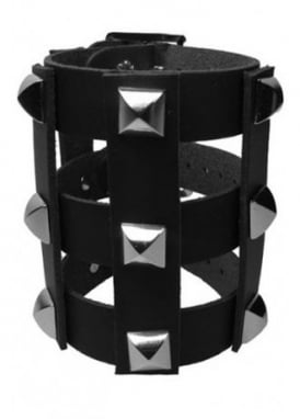 Pyramid Stud Stripped Wristband