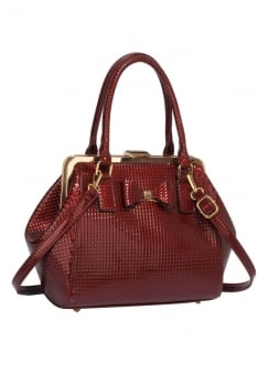 Burgundy Textured Bow Handbag