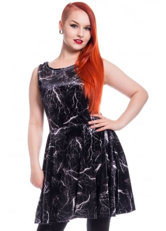 Chemical Black Storm Velvet Skater Dress