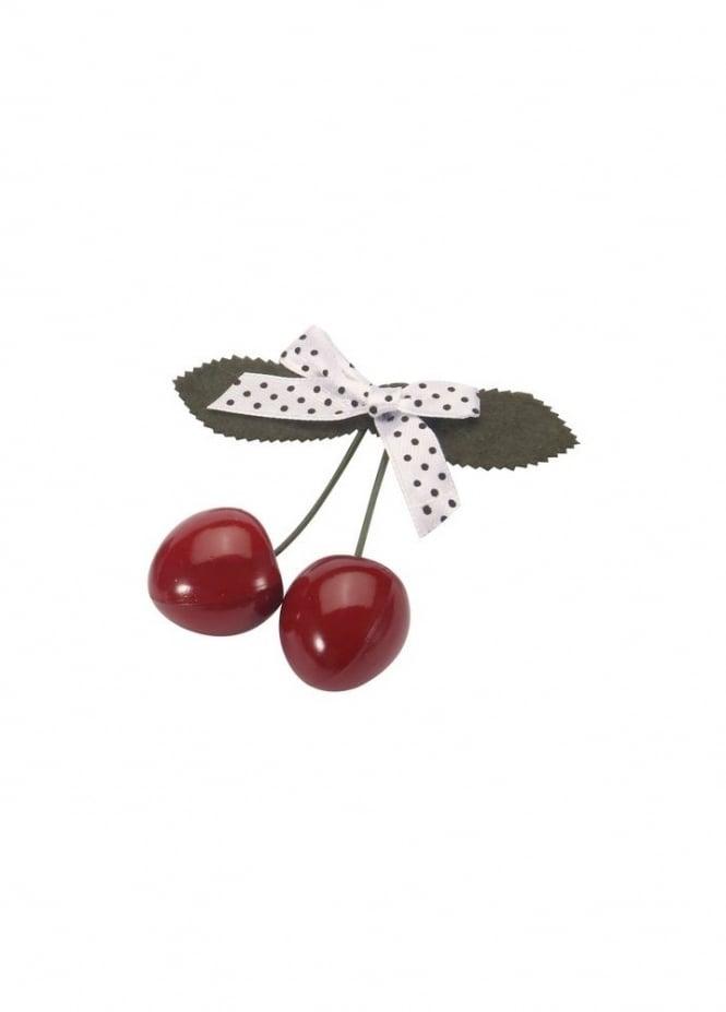 Cherry Polka Dot Bow Hair Slide