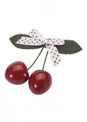 Cherry Polka Dot Bow Hair Slide