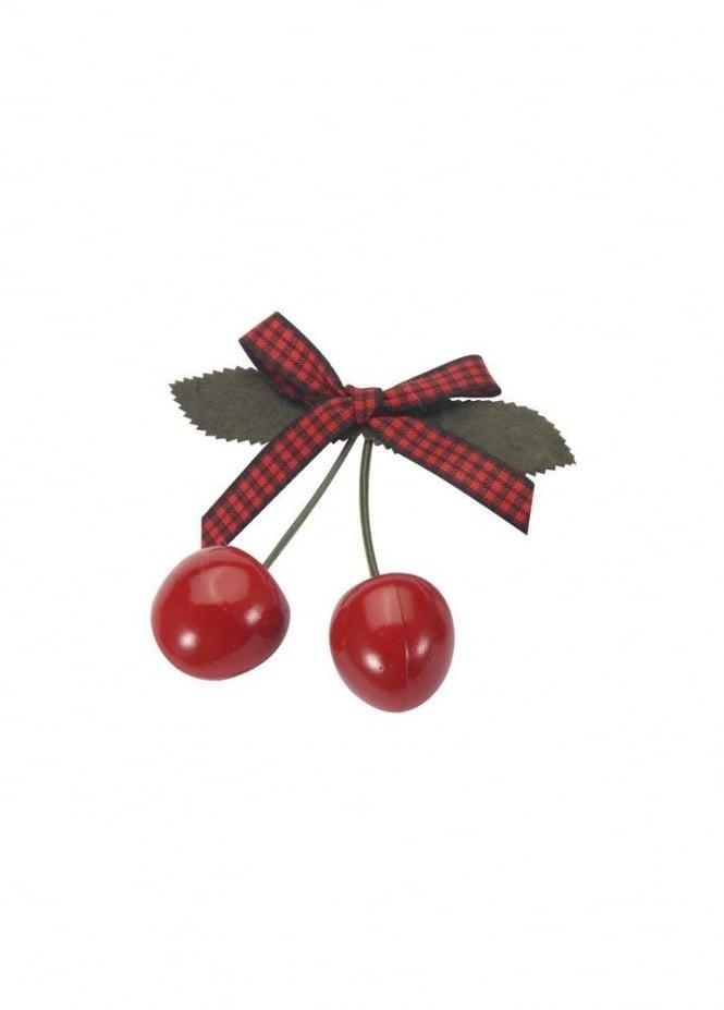 Cherry Red Gingham Bow Hair Slide