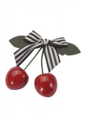 Cherry Stripe Bow Hair Slide