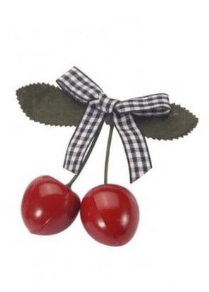 Cherry White Gingham Bow Hair Slide