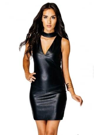 Choker V-Neck Faux Leather Bodycon Dress