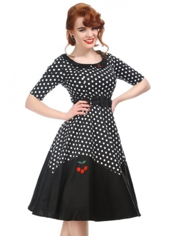 Collectif Clothing Cherry Polka Dot Retro Doll Dress