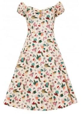 Dolores Doll Atomic Flamingo Print Dress