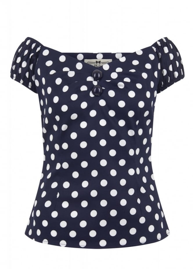 Collectif Clothing Dolores Polka Dot Retro Top