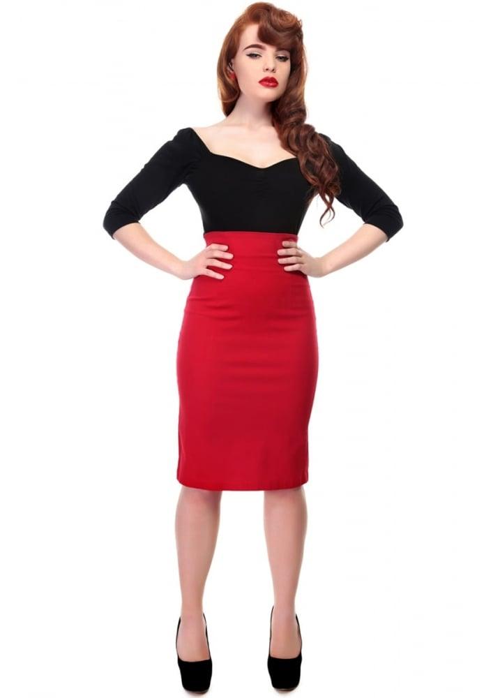 30dcea95c1 Collectif Fiona Plain Pencil Skirt Red | Attitude Clothing