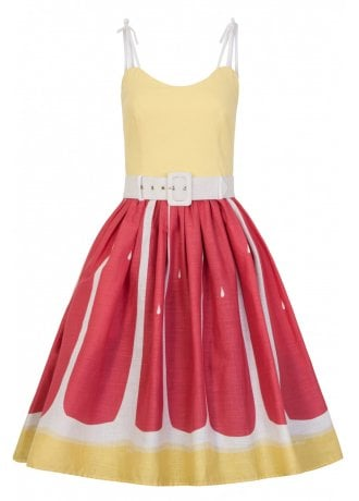 Collectif Clothing Jade Pink Grapefruit Retro Swing Dress