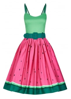 Jade Watermelon Retro Swing Dress