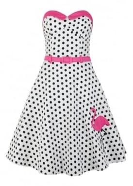 Monica Polka Dot Flamingo Swing Dress