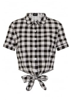 Sammy Vintage Gingham Retro Tie Blouse