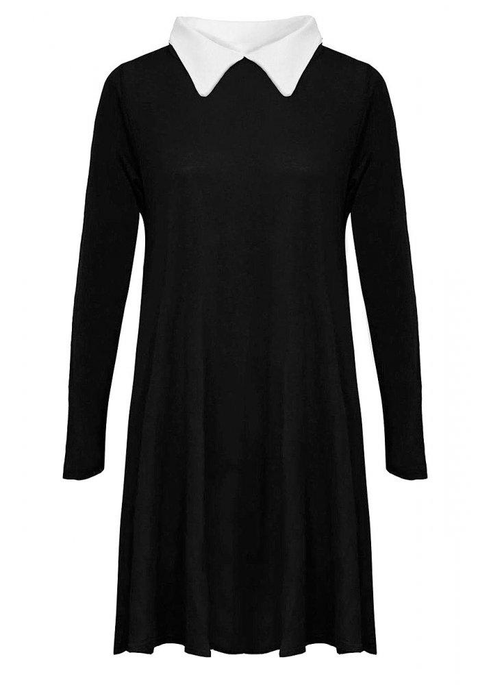 Contrast Collar Dress Attitude Clothing