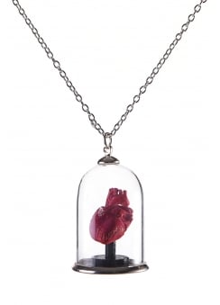 3D Printed Human Heart Bell Jar Necklace