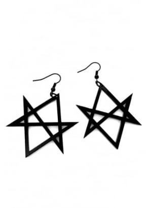 Black Hexagram Earrings