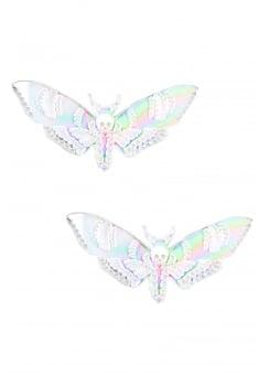 Iridescent Deaths Head Moth Hair Clips