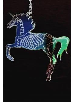 Iridescent Unicorn Skeleton Necklace