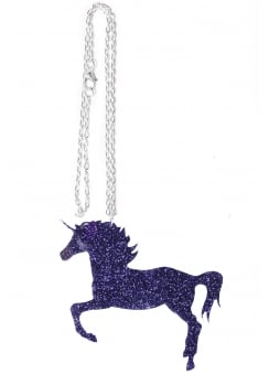 Purple Glitter Unicorn Necklace