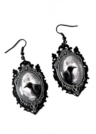 Curiology Raven Cameo Gothic Earrings