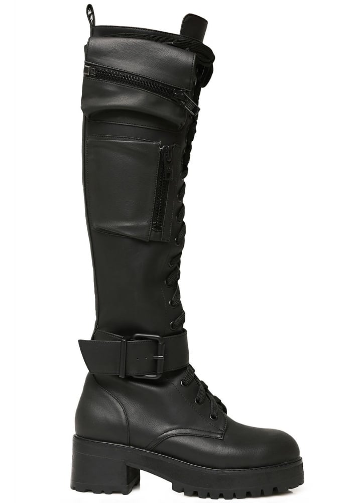 393f710e9c666 Current Mood Obsidian Pocket Knee High Combat Boots | Attitude Clothing