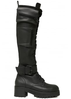 Obsidian Pocket Knee High Combat Boots